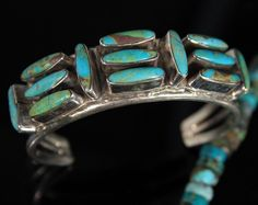 Nice Old Pawn Vintage Navajo Green Turquoise Sterling Cuff Bracelet Signed