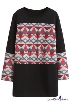 19e22b5cdc Geometric Print Color Block Pullover Tunic Sweatshirt