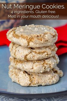 A 4 ingredient gluten free, melt in your mouth cookie thats the perfect use for leftover egg whites too! Cookies Gluten Free, Gluten Free Treats, Gluten Free Baking, Gluten Free Desserts, Gluten Free Recipes, Baking Recipes, Cookie Recipes, Dessert Recipes, Gluten Free Biscuits