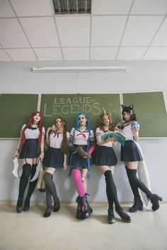 League of High School from League of Legends by Riot Games Aimaru as Katarina Native Cosplay as Nidalee Yarpenna as Jinx Arshania Cosplay as Leona  Sernikovic as Ahri Photographer: Made by Dobrochna With help of NONA Industries Lorien's cosplay adventures Daraya cosplay Tentacle Creations Kasori's Hive