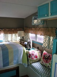 fabrics for a pop up trailer makeover | Look at this cutie with yellow. Notice the painted hitch and propane ...