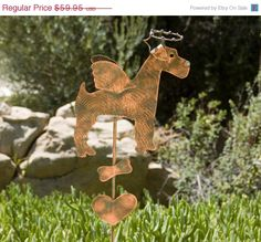 AIREDALE-WIREHAIRED TERRIER Pet Memorial Lawn Ornament Grave Marker Outdoor Plant Stake Copper Metal Yard Art Dog Spike Patina Finish #handmade #etsyretwt
