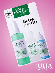 One kit, major glow. We can't get enough of Mario Badescu, full of no-fuss, natural ingredients that should be in everyone's skincare routine. This kit has a gentle exfoliating glycolic cleanser; herbal hydrating serum full of ceramides, gingko and ginseng to soften and hydrate, plus the cult favorite faical spray with aloe, cucumber and green tea for a soothing, refreshing spritz on the go. Hydrating Serum, Herbal Green Tea, Cucumber Face Mask, Beauty Makeover, Beauty And The Beat, Acne Face Wash, Beauty Secrets, Beauty Tips, Beauty Products