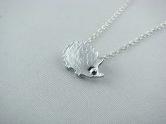 Silver Hedgehog Necklace / Simple Everyday Necklace / Nature Inspired Necklace / Hedgehog Jewelry / Sterling Silver Necklace/Animal Necklace by RoswithaJewelry on Etsy