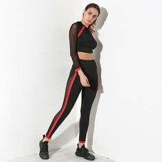 326d67bb2865 Burst round neck net yarn splicing black red Fitness suit Set t-shirts+Long  Pants) Leisure Suits fashion Russia style