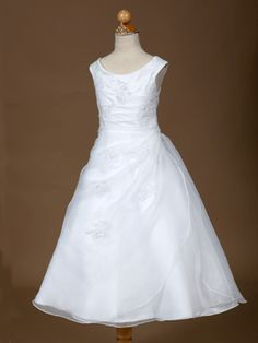 White Satin and Organza Embroidered First Communion Dress