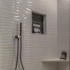 Ceramic Tile Bathrooms, White Bathroom Tiles, Ceramic Wall Tiles, Small Bathroom, White Tile Shower, Ceramics Tile, Condo Bathroom, Bathroom Ideas, Shower Surround