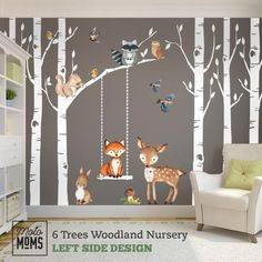 Woodland nursery wall decor 6 birch trees fox and friends fox deer owl squirrel rabbit raccoo. Woodland nursery wall decor 6 birch trees fox and friends fox deer owl squirrel rabbit raccoon birds Wall Decal neutral nursery easy to install Nursery Themes, Nursery Room, Girl Nursery, Nursery Murals, Nursery Wall Decals Boy, Nursery Ideas, Fox Nursery, Baby Room Wall Stickers, Childrens Wall Murals