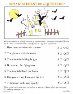 Worksheets: Statements and Questions: Halloween Edition