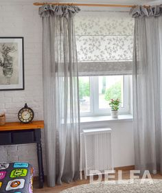 Roman Curtains, Linen Curtains, Curtains With Blinds, Bedroom Windows, Curtain Designs, Small Living Rooms, Kitchen Curtains, Window Coverings, Sweet Home