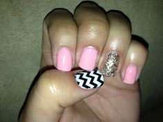 Gelish, French white, chevron print, all that glitters is gold, go girl.