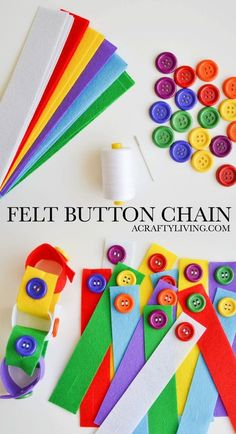 DIY Felt Button Chain - Simple Busy Bag developing fine motor skills, colour recognition & learning a practical self-care task! Perfect for Toddlers & Preschoolers! http://www.acraftyliving.com
