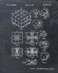 This is a print of the patent drawing for the Rubiks Cube patent in 1983. The original patent has been cleaned up and enhanced to create an #patentart