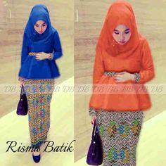 HM1026 kebaya modern Risma orange+ biru,_katun halus import komb songket batik(reseleting dpn_busui)+pashmina Rp139