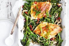 Forget the line up of pots and pans and try this simple one-dish roasted miso butter snapper with broccolini.