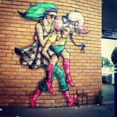 by Lucy Lucy - Glenroy, Victoria, Australia (LP) Murals Street Art, Street Art Graffiti, Amazing Street Art, Awesome Art, Art Addiction, Outdoor Art, Chalk Art, Street Artists, Types Of Art