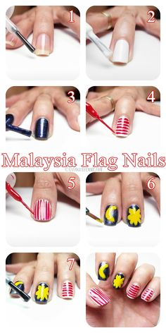 Malaysia Flag Nails Tutorial - How To