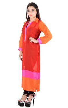 Beautiful Orange Color Printed Georgette Long Kurti By Vivaa Kurtas and Kurtis For Women on Shimply.com
