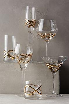 Glimmer - Wrapped Old Fashioned Glassware Wine Glass, Glass Art, Kitchen Collection, Dinner Sets, Kitchen Accessories, Tableware, Kitchenware, Serveware, White Wine