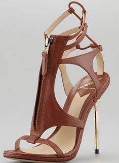 B Brian Atwood Merritta Zip-Front Sandal, Brown ♥✤ | Keep the Glamour | BeStayBeautiful