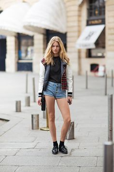 cool bomber #AnnaEwers. #offduty in Paris.