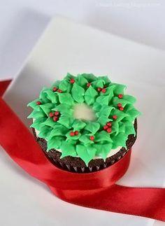 Guirlanda de glacê para os cupcakes de natal