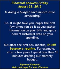 Welcome to Financial Answers Friday (Aug-23-2013! #budgeting