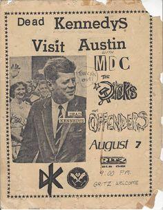 Visit Austin, Dead Kennedys, Rock Band Posters, New Flyer, Vintage Concert Posters, Concert Flyer, Post Punk, Flyers, Rock Bands