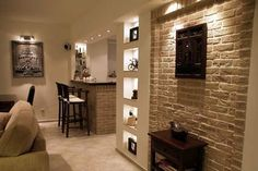 Home! It's cozy living room design Brick Interior, Interior Architecture, Casa Pop, Comin Home, Minimal House Design, Kitchen Lighting Design, Basement Inspiration, Small House Plans, Great Rooms