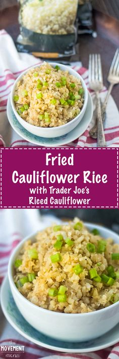 This Cauliflower Fried Rice is so easy to make and packed with delicious flavors. Extremely low carb and paleo and vegetarian friendly! TheMovementMenu.com
