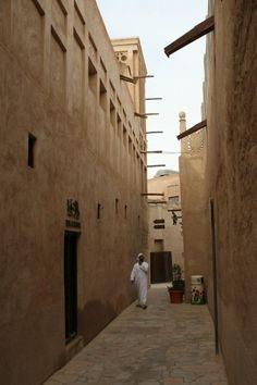 The winding alleyways of Al Bastakiya, Dubai, UAE