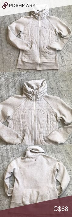 Lululemon sweater Brand new condition! Super cute bunched collar True to size. Exact name unknown Light gray white colour Small mark on shoulder I haven't tried to remove yet. I'm confident it will come off. Lululemon Jacket, Jacket Brands, Plus Fashion, Fashion Tips, Fashion Trends, Hoodies, Sweatshirts, Confident, Sweatshirt