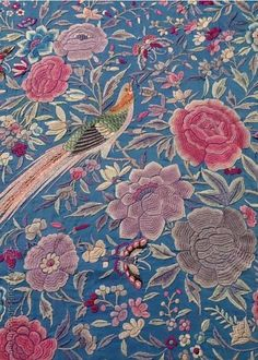Chinese Embroidery, Hand Work Embroidery, Hand Embroidery Designs, Embroidery Patterns, Print Patterns, Kenzo, Paisley Art, Oriental Flowers, Passementerie