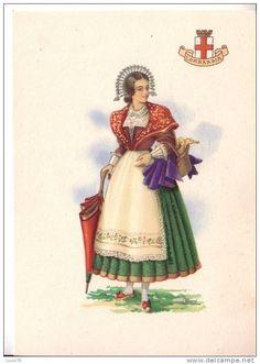 COSTUMI REGIONALI D´ITALIA - LOMBARDIA - Dessin signé : A. Carini Folk Costume, Costumes, Calabria Italy, European Dress, Milano, Art Music, Traditional Outfits, Folk Art, Princess Zelda