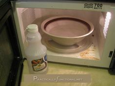 Clean a dirty microwave with 1 to 2 cups water and 1 to 2 tbsp vinegar in just 5 minutes. Can let sit an additional 5 to steam some more... then scrub!