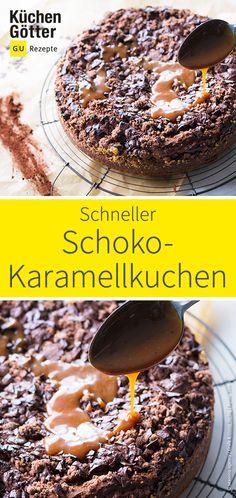Schnelles Rezept für leckeren Schoko-Karamellkuchen.