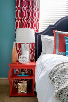 Lindsey Binz Home Company, teal and red bedroom, turquoise, blue-green, Sherwin Williams Reflecting Pool
