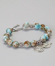 Pebbles Jones Brown, Tan & Aqua 'Peace on Earth' Bead Bracelet World Peace Day, Beaded Jewelry, Beaded Bracelets, Aqua, Turquoise, Stretch Bracelets, Jewelery, Jewelry Design, Gems