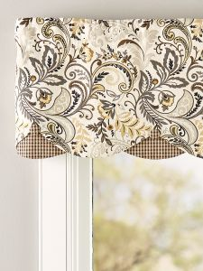 The Rod Pocket Layered Paisley Linen Valance is a cheerful combination of a bright pattern and check fabric. Hang alone or with coordinating window treatments. Valance Window Treatments, Kitchen Window Treatments, Kitchen Window Coverings, Window Cornices, Window Toppers, French Country Kitchens, Modern Country, Kitchen Valances, Custom Drapes