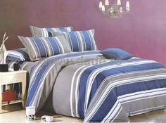 Lenjerie de pat Blue,in dungi verticale, 2 persoane-big