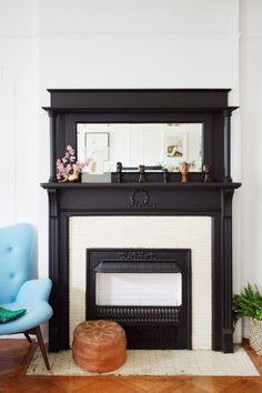 7 Things to Paint Black Today // The fireplace. Give the focal point of the room a little extra oomph. Paint Fireplace, Black Fireplace, Faux Fireplace, Fireplaces, Fireplace Tiles, Basement Fireplace, Bedroom Fireplace, Fireplace Design, Living Room Decor