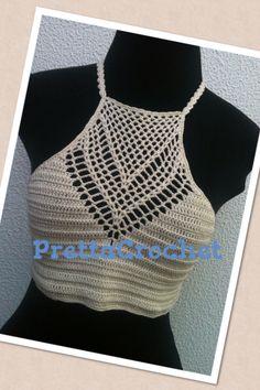Frente única de crochet #cropped #top #boho #chic