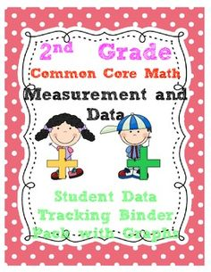2nd Grade Common Core Math Measurement Data *2.MD* {Student Data Tracking Folder/Binder Pack} with pre/post test graphs