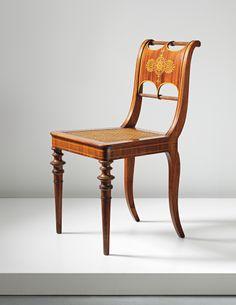 c1830 salon chair, desgn-Karl Friedrich Schinkel, Germany, mah,laminated,inlay, 34t, est14-30. ... http://davidhannafordmitchell.tumblr.com/post/70392593204/design-is-fine-karl-friedrich-schinkel-salon