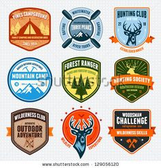 Set of outdoor adventure badges and hunting logo emblems by Mike McDonald, via ShutterStock