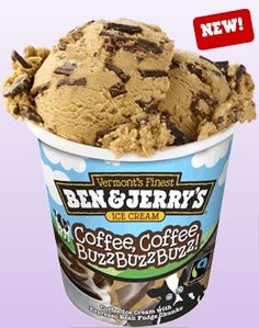 Ben and Jerry's Ice Cream-Coffee, Coffee Buzz Buzz Buzz! Coffee ice cream with espresso bean fudge chunks.