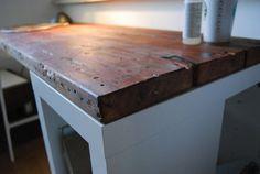 selfmade tinker desk from old planks