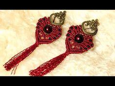 Heartshaped earrings with tassel in micro macrame - YouTube