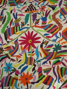 Otomi Hand Embroidered Bedspread Tablecloth in Mexico Mexican ...