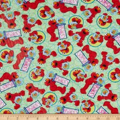 EXCLUSIVE Stretch Knit Sesame Street Tossed Elmo Green - Fabric.com